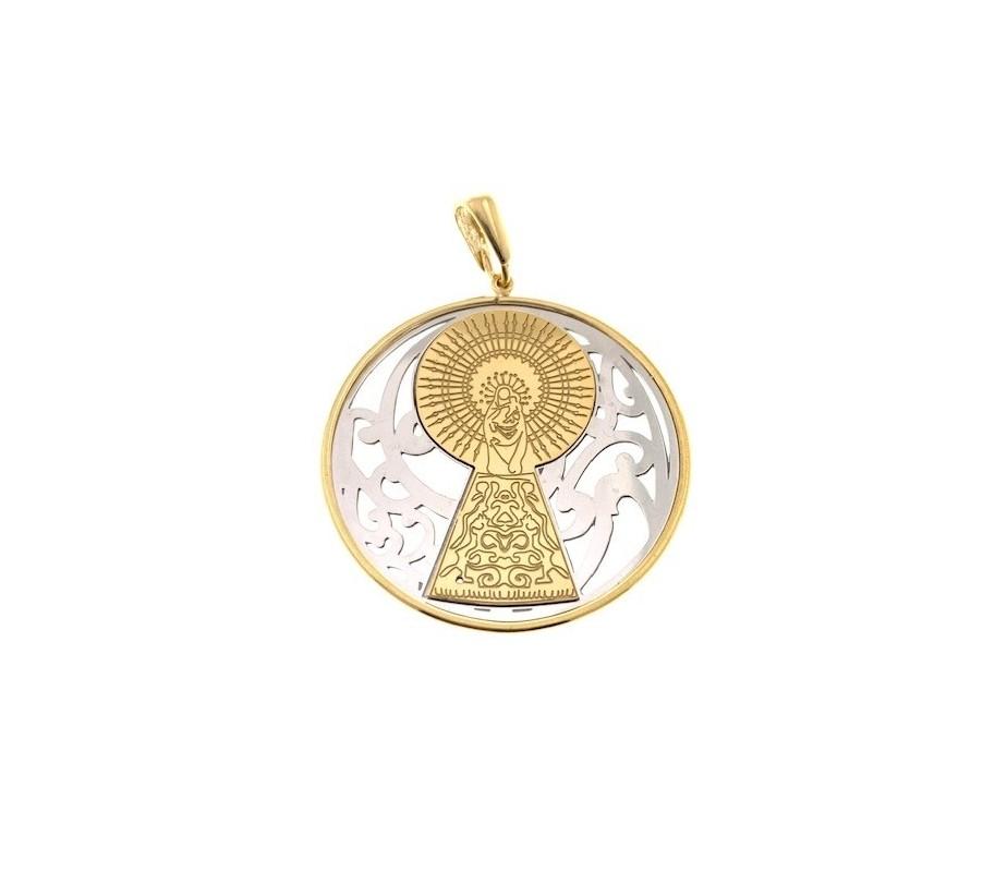 Medalla Virgen Pilar en Plata de Ley  bicolor.  40mm MP008B