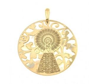 Medalla Virgen Pilar en Plata de Ley con baño de oro y nacar. 40mm MP008ND