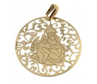 Medalla Virgen del Carmen plata chapada en oro 40mm MCM008D