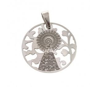 Medalla Virgen Pilar en Plata de Ley y nacar. 25mm MP005NP