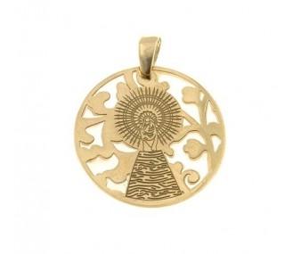 Medalla Virgen Pilar en Plata de Ley con baño de oro y nacar. 25mm MP005ND
