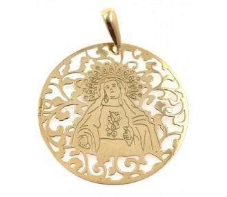Medalla Virgen de Amargura plata chapada 40mm MAG008D