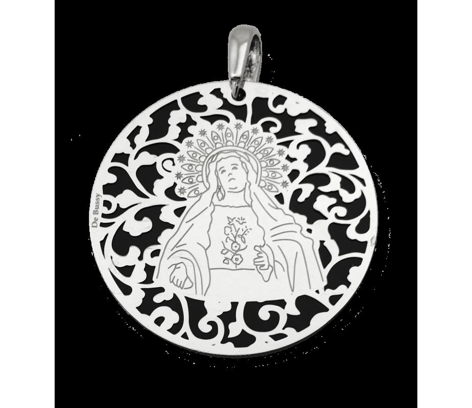 Medalla Virgen de Amargura plata y onix 40mm MAG008OP