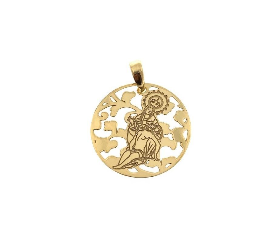 Medalla Virgen Caridad Plata Chapada en Oro 25mm MCR005D