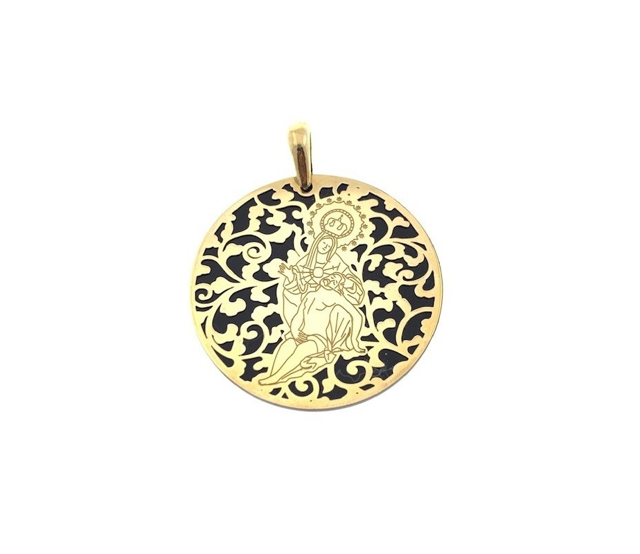 Medalla Virgen Caridad Plata Chapada en Oro 40 mm MCR008OD