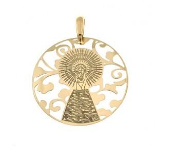 Medalla Virgen Pilar en Plata de Ley con baño de oro 35mm MP003D