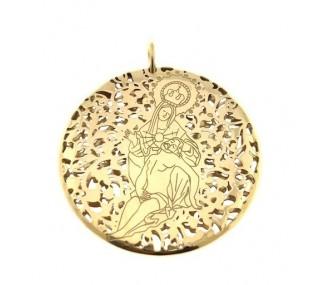 Medalla Virgen Caridad Plata Chapada en Oro 40mm MCR403DD
