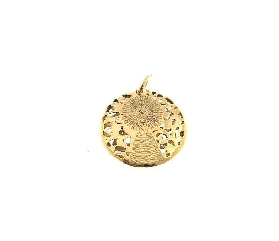 Medalla Virgen Pilar en Plata de Ley con baño de oro 20mm MP203DD