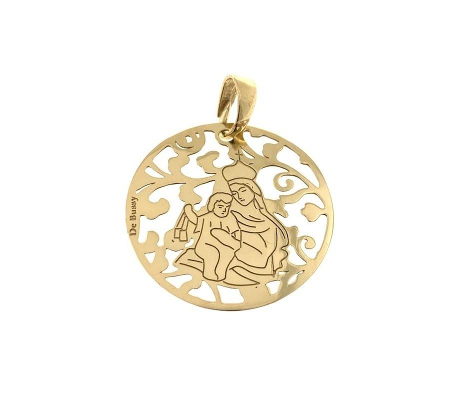 Medalla Virgen del Carmen plata chapada en oro 25mm MCM005D