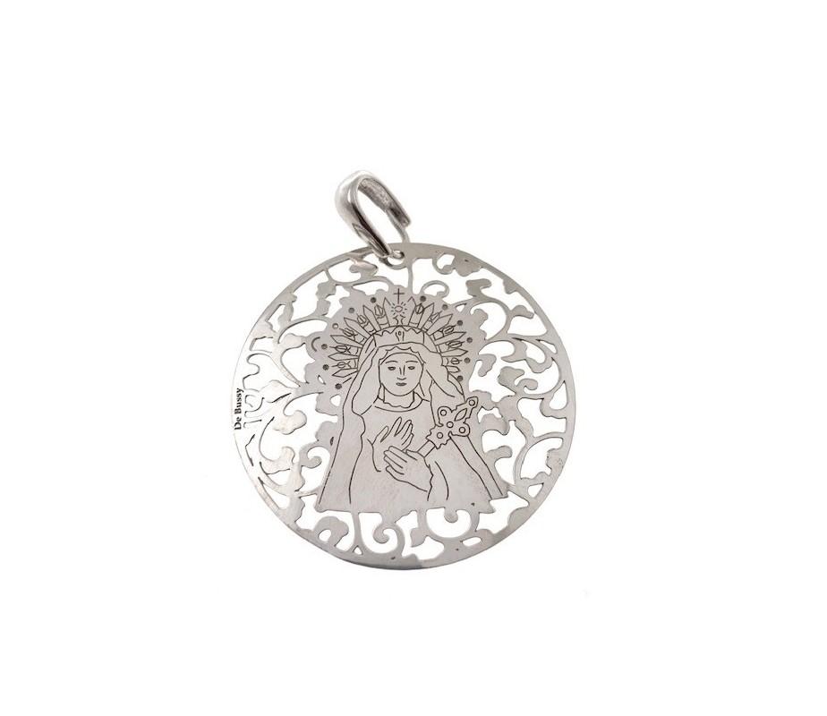 Medalla Virgen de los Dolores en plata de ley 40mm MDL008P