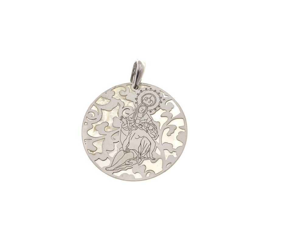 Medalla Virgen Caridad Plata Ley 925m con nacar 40 mm MCR008P