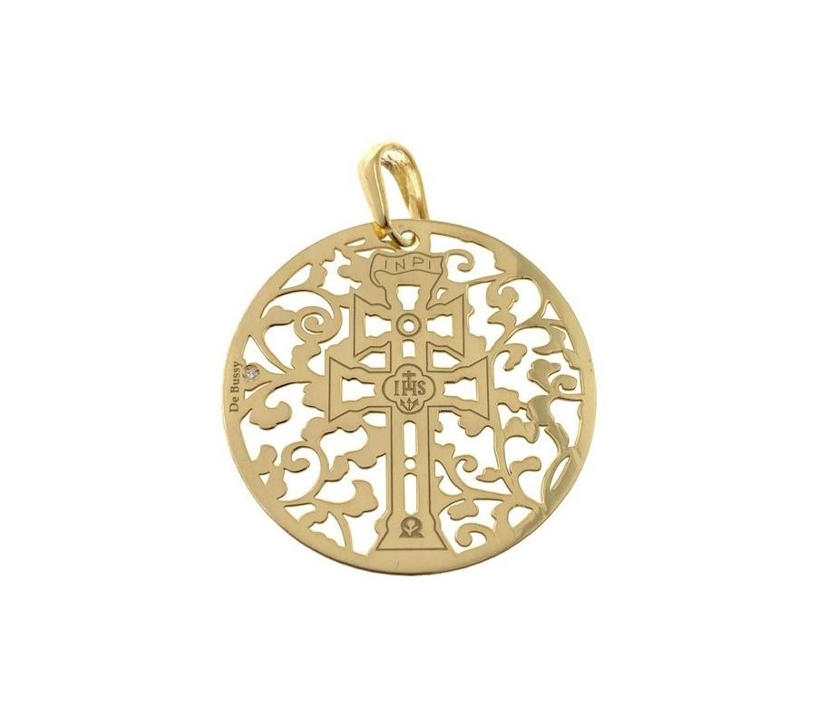Cruz de Caravaca en plata de ley chapda con diamante 35mm MCV003DBT