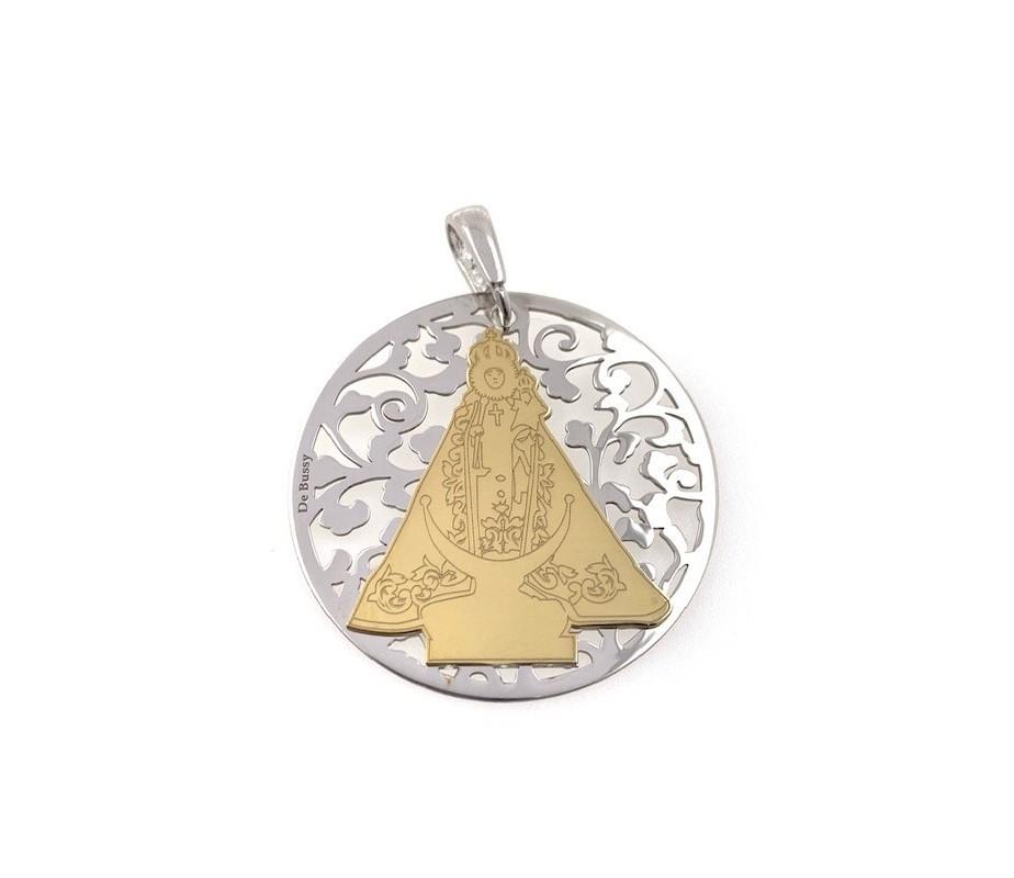 Medalla Virgen Fuensanta en plata de ley y diamante incrustado 35mm MF003BBT
