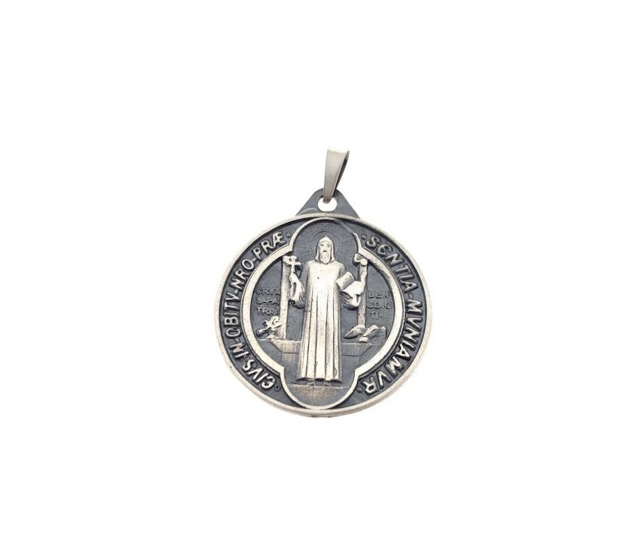 Medalla San Benito en plata de ley 30 mm DBSB30