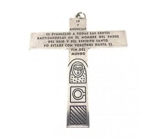 Cruz Familia Camino Neocatecumenal Baño en Plata 96mmDBK125