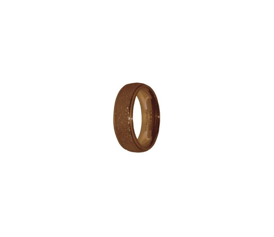 ANILLO ACERO 316 L, DIAMANTADO CAFE R15184/CDO.15