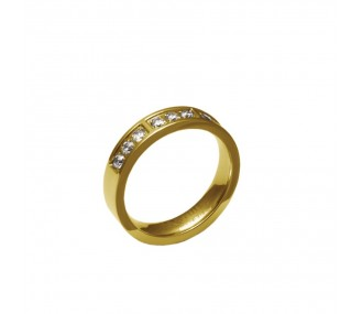 ANILLO ACERO 316 L, 9 CIRCONITAS BLANCAS, IP GOLD R55501/GBL.17