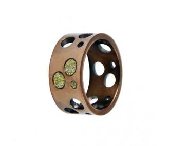 ANILLO ACERO 316 L, GLAZY GOLD, IP CAFE R91958/CGO.13