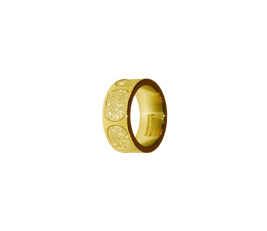 ANILLO ACERO 316 L, GLAZY GOLD, IP GOLD R91960/GGO.15