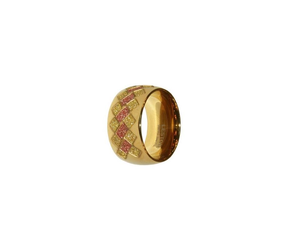 ANILLO ACERO 316 L, GLAZY BURDEOS/GOLD, IP GOLD R91963/GBG.13
