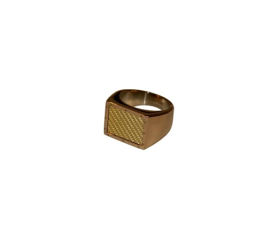 ANILLO ACERO 316 L, IP CAFE, FIBRA CARBONO GOLD R94141/CGO.25