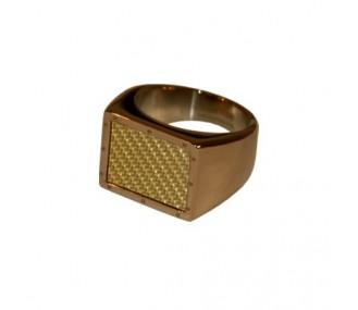 ANILLO ACERO 316 L, IP CAFE, FIBRA CARBONO GOLD R94141/CGO.29